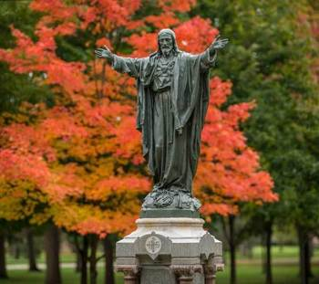 Jesus statue on main quad