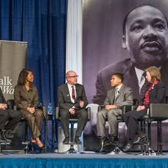 Dean John MGreevy holds a panel discussion with (left-right) Professor Luis Fraga, Katie Washington Cole, Steven Waller and Associate Professor Jennifer Mason McAward at the Martin Luther King, Jr. Celebration Luncheon 2016.