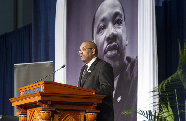Dean Hugh Page offers opening remarks at the Martin Luther King Jr Celebration Luncheon