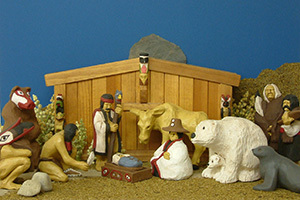 A Christmas Nativity Scene On Display
