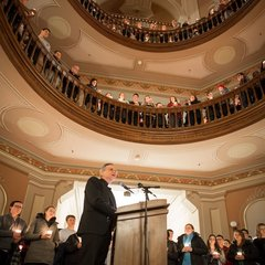 Notre Dame President Rev. John I. Jenkins, C.S.C. speaks at a candlelight prayer service in the Main Building in observation of Martin Luther King Jr. Day.