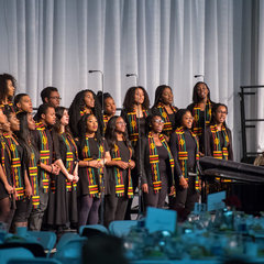 The Voices of Faith Gospel Choir perform prior to the Martin Luther King Jr. celebration luncheon, part of Walk the Walk Week.