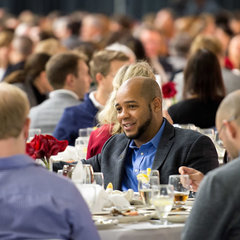 Faculty, staff and students gather in the North Dome of the Joyce Center for the Martin Luther King Jr. celebration luncheon, part of the 2017 Walk the Walk Week.