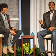 Corey Robinson '17 and his father, philanthropist and former NBA star David Robinson engage in a discussion and Q&A as the keynote speakers at the 2018 MLK Luncheon.
