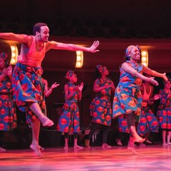 UZIMA!, the local dance and theater company founded by Kelly Morgan, and master African drummer James Riley '94 perform in the DeBartolo Performing Arts Center