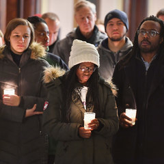 Students and Staff at the Candlelight Prayer Service in honor of the Rev. Martin Luther King Jr. holiday.