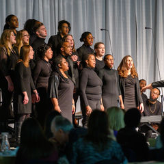 Voices of Faith Gospel Choir perform at the beginning of the 2020 Martin Luther King Jr. Celebration Luncheon