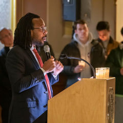 Eric Styles, Rector of Carroll Hall, speaks at the Candlelight Prayer Service in honor of the Rev. Martin Luther King Jr. holiday. The event also marked the beginning of Walk the Walk Week